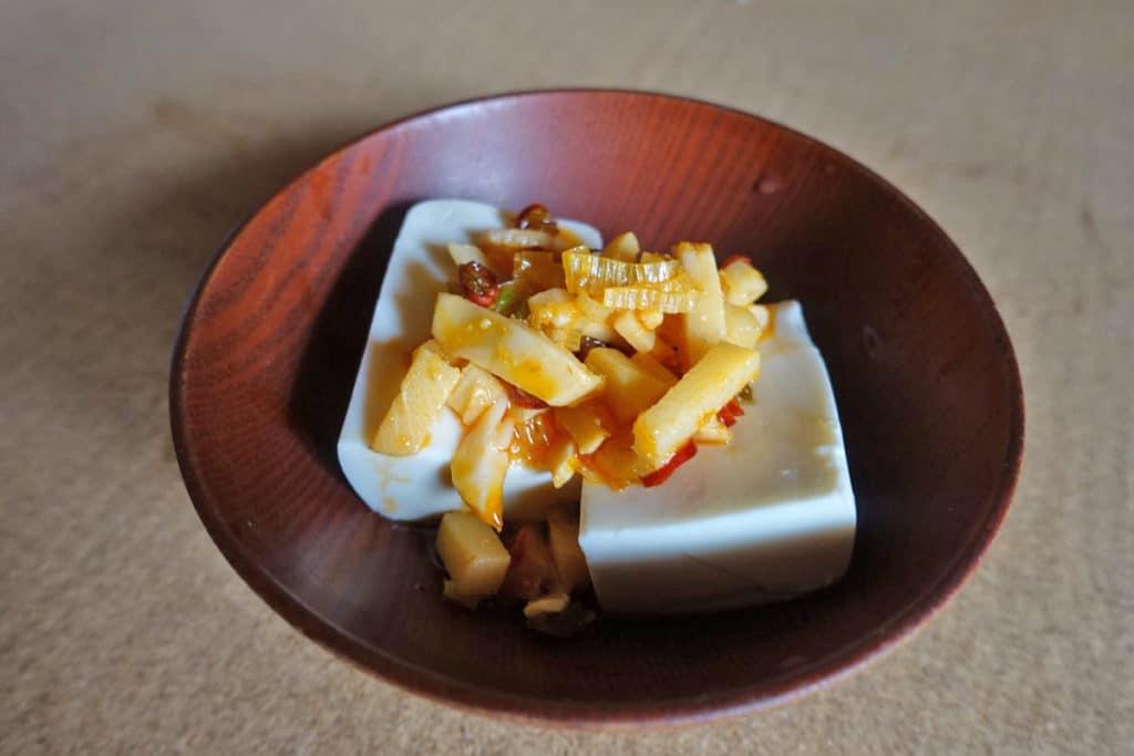 「たけのこラー油」豆腐